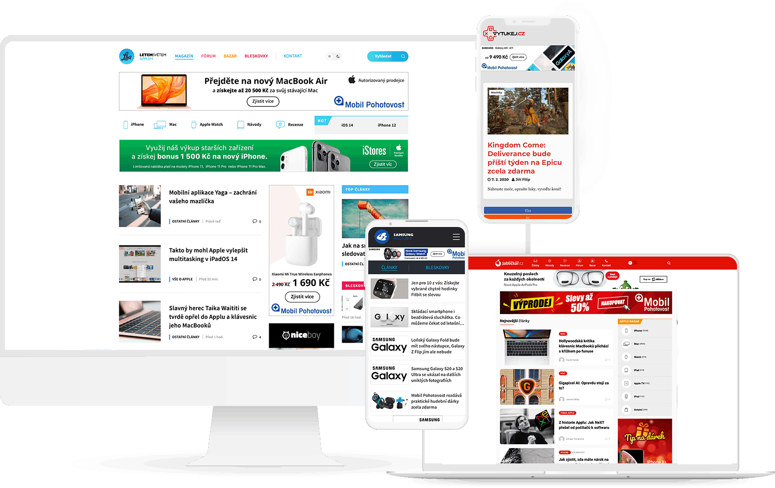 Náhledy našich webů na různých zařízeních